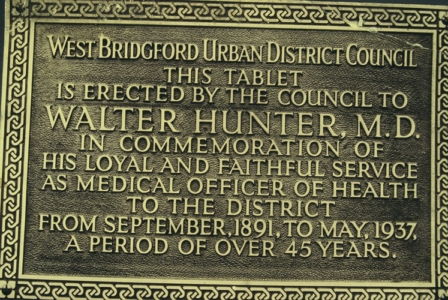 WB Council, plaque for Dr Hunter 1937
