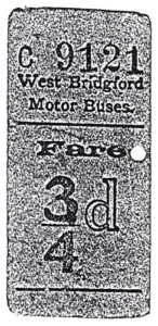 West Bridgford bus ticket c1930